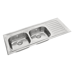 SS Double Bowl with Single Drain Board Sink